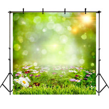 NeoBack Spring Green Backdrop Flowers Bokeh Children Backgrounds for Photo Studio Birthday Baby Shower Photography Backdrops kate blue snow photo backdrop christmas with trees bokeh light backdrops fotografia washable and seamless baby shower backdrop