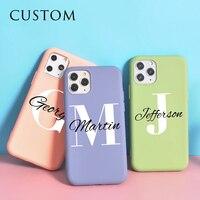 Nome personalizzato iniziali Cover telefono in Silicone per iphone 12 custodia 11 Pro 8 Plus SE 2020 X XS Max Funda 10 XR 6 6s 7 coppie Coque DIY