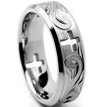 Fashion Silver Plated Cross And Snake Engraved Ring Jesus Band Rings For Men Women Gothic Party Jewely Accessories cGift B4M908