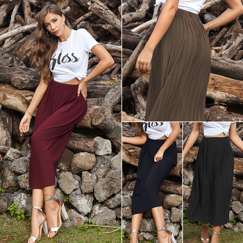 New Fashion 2020 Euro Style Elastic Waist Pleated Long Skirt Summer High Solid Ladies Skirts Femme Saia