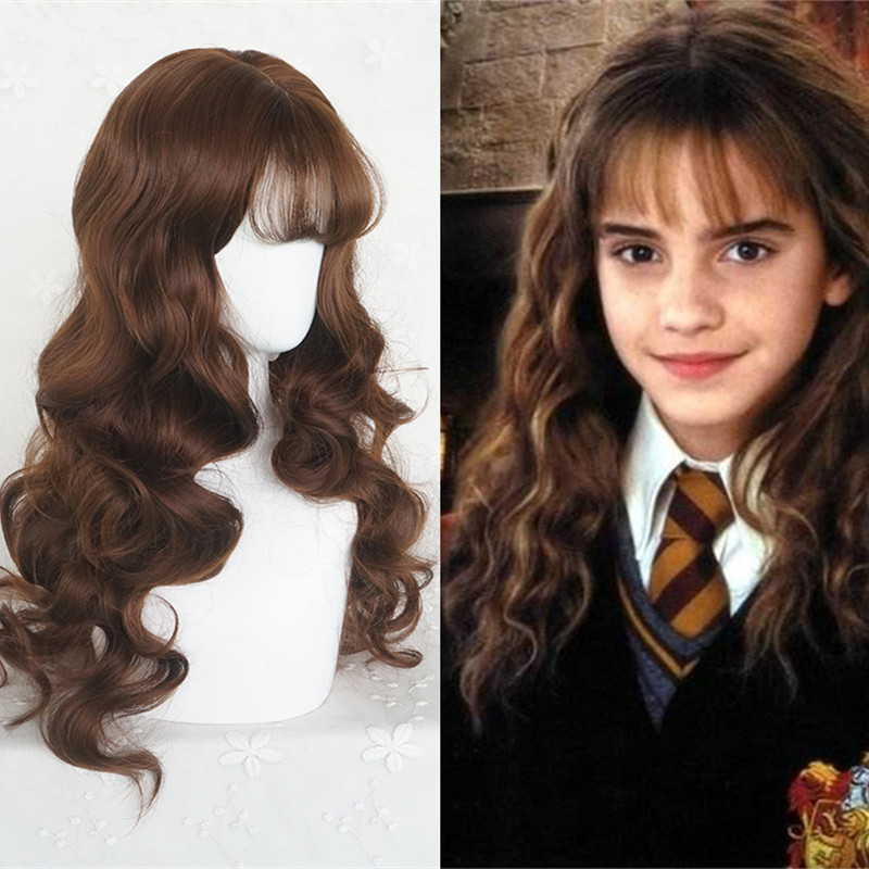 Halloween Sihir Potter Wanita Hermione Granger Peran Bermain Wig Emma Watson Herminone Coklat Panjang Rambut Bergelombang Kostum Film Tv Kostum Aliexpress