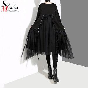 Image 1 - New Plus Size 2020 Korean Style Women Autumn Winter Black Loose Dress Long Sleeve Mesh Overlay Lady Casual Midi Dress Robe 4564
