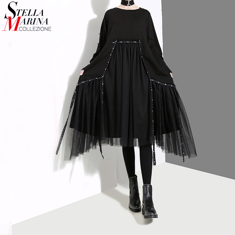 New Plus Size 2020 Korean Style Women Autumn Winter Black Loose Dress Long Sleeve Mesh Overlay Lady Casual Midi Dress Robe 4564(China)
