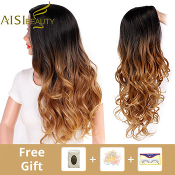 AISI BEAUTY Ombre Long Blonde Brown Wavy Wigs For Women Synthetic Black Gray Red Female Daily Party Heat Resistant False Hair 4