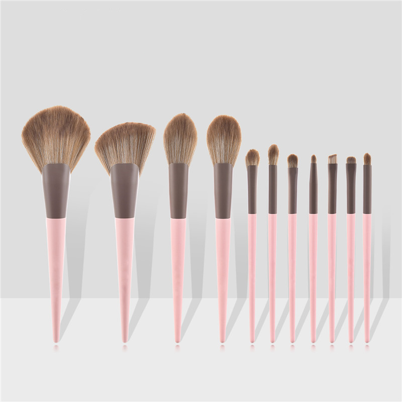 11pcs Makeup Brushes Set Eyeshadow Foundation Loose Powder Blush Concealer Highlighter Professional Face Makeup Tool