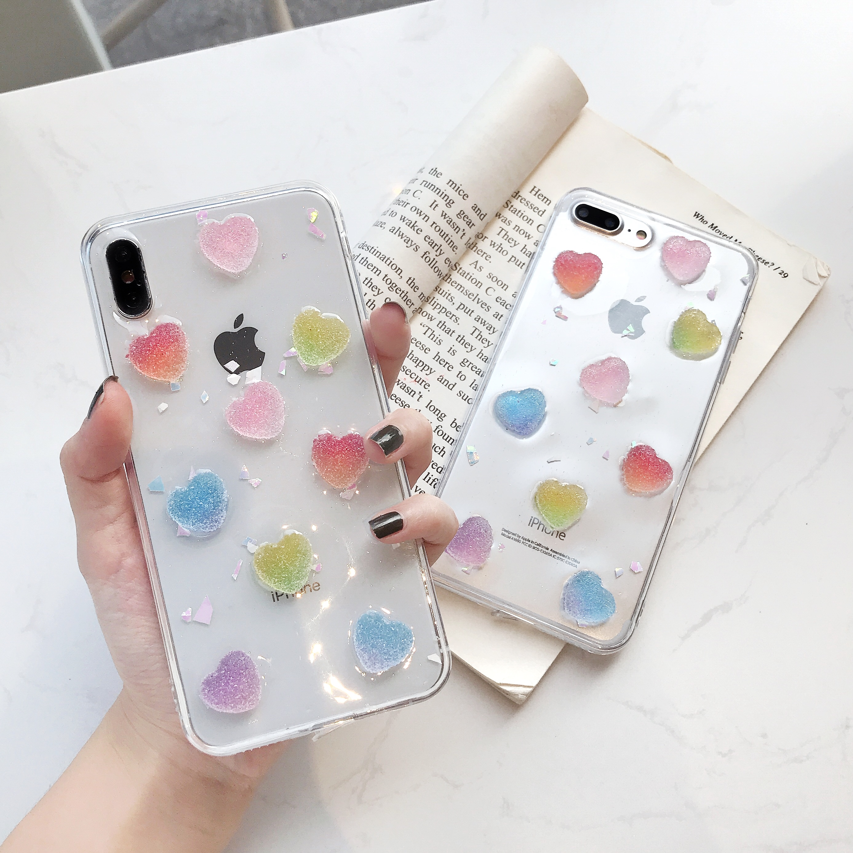 Luxury Foil Epoxy Colorful Candy Love Phone Case For iPhone XR XS Max 6 6S 7 8Plus X Transparent Soft TPU Back Cover