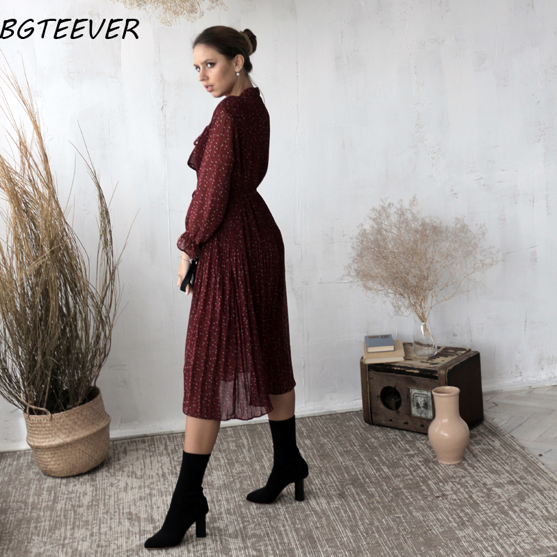 BGTEEVER Chic Bow Neck Plaid Dress Women 2020 Spring Flare Sleeve Lace-up Pleated Mid-calf Dress Female Chiffon Vestidos femme 5