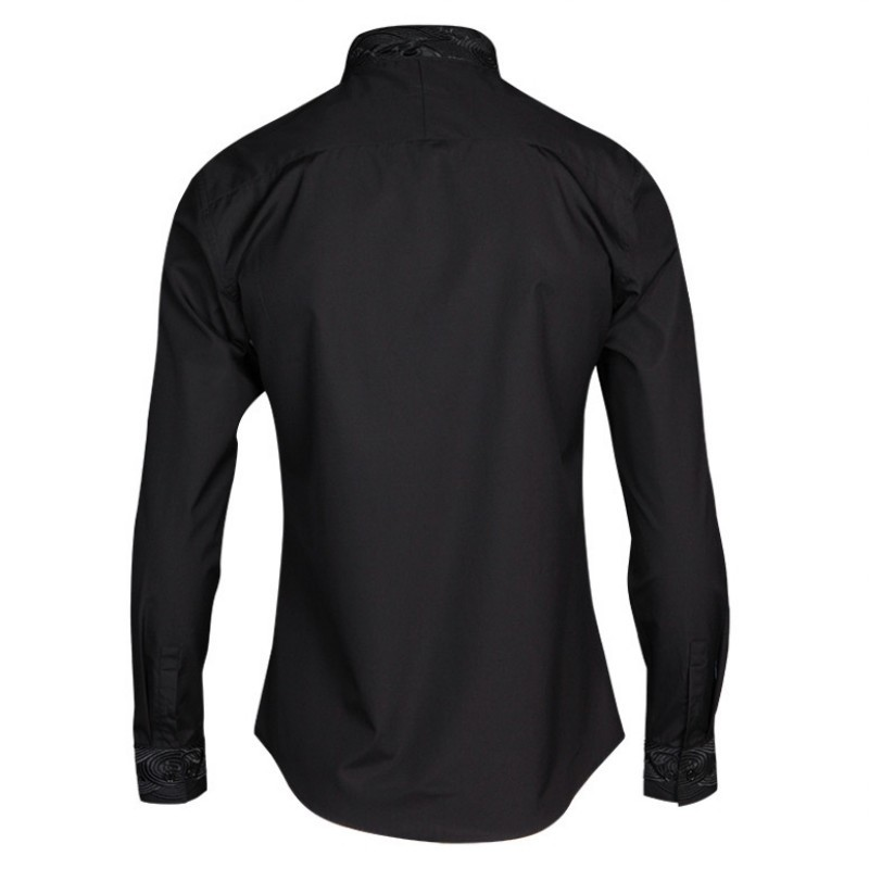 <Hot DealsTuxedo Shirts Collar Square Long-Sleeve Business Black White Male Casual Fashion Brand