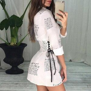 Image 5 - Katı 2020 sonbahar mektubu baskılı beyaz gömlek elbise kadın sokak moda parti zarif turn aşağı yaka ince bel düğmesi GV002