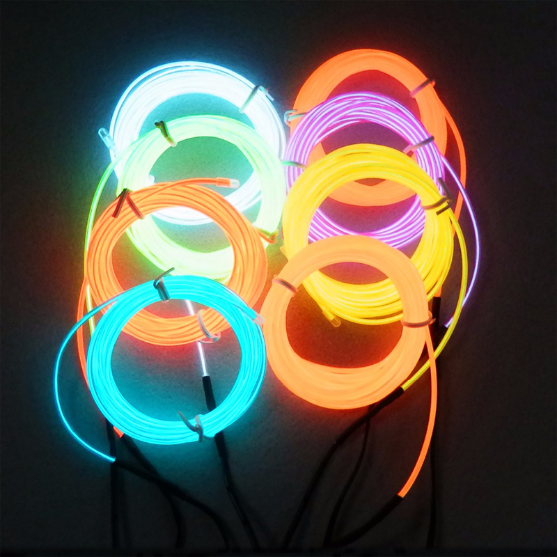 1M/2M/3M/5M EL Wire Neon Light Dance Party Holiday Decor Light Neon LED lamp Flexible 12V EL Wire Rope Tube Waterproof LED Strip
