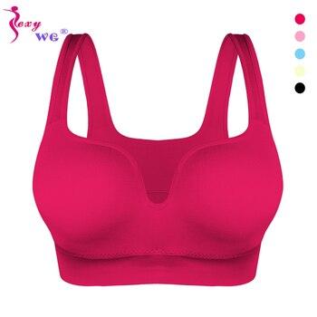 SEXYWG Women Sport Bras Yoga Shirt Fitness Running Vest Underwear Padded Bra Crop Sport Top Underwear Wireless Push Up Brassiere