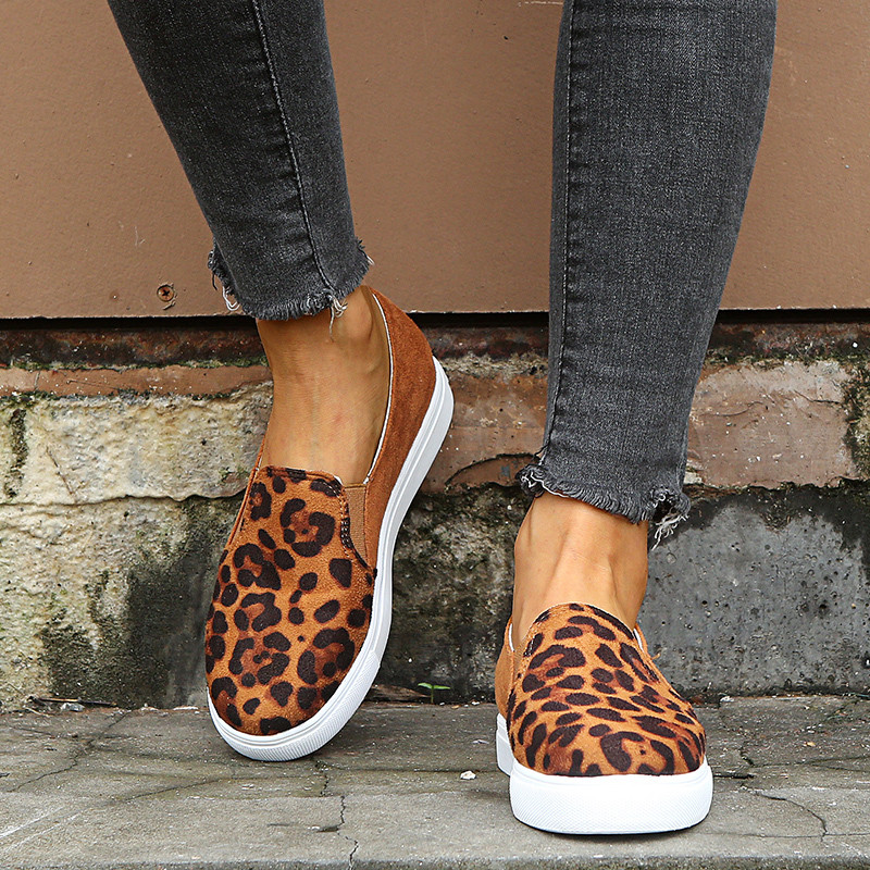 COOTELILI Women Casual Women's Autumn Shoes Woman Fashion Female Slip-On Flat Shoes Flats Leopard Print Serpentine
