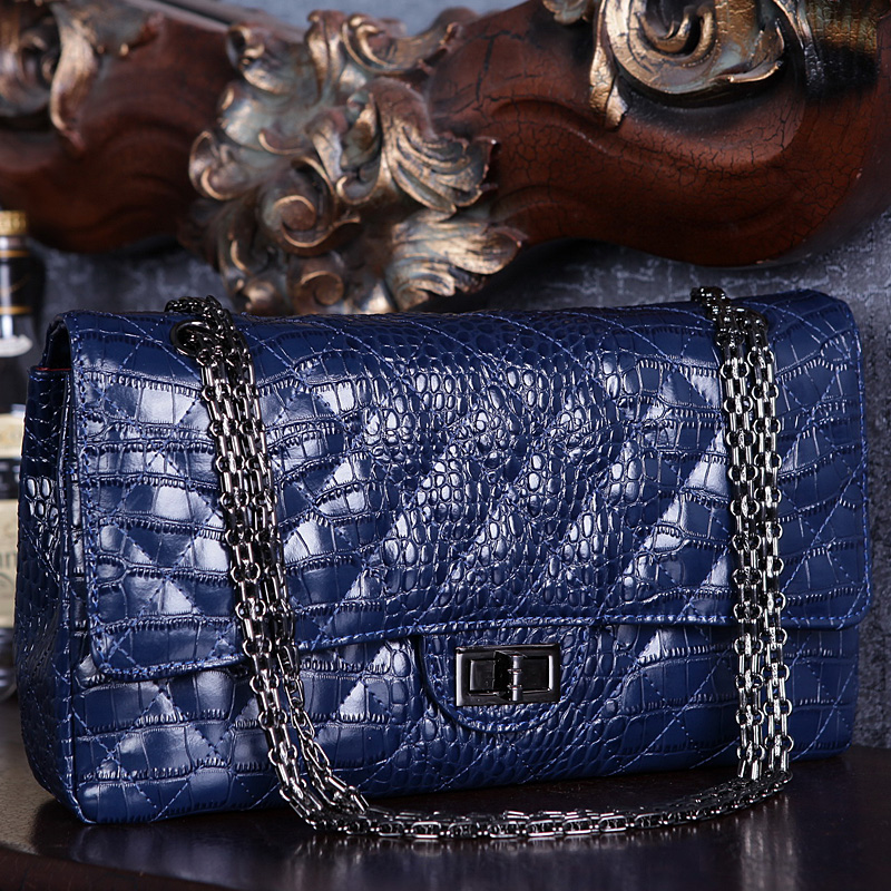 Famous Brand shoulder women handbags genuine leather bags for women 2019 luxury designer crossbody female ladies big chain woman-in Shoulder Bags from Luggage & Bags