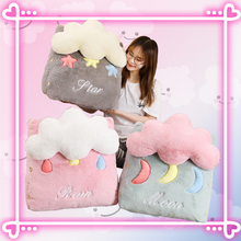 45*25*50cm Cartoon Kawaii 3D Cloud Shape Plush Toy Cushion Soft Sofa Pillow Office Chair Back Support Bed Backrest Home Decor