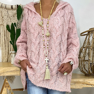 Knitted Sweater Women Knitted Hoodies Oversized Jumper Pink Sweater Women Hooded Pulllover Kintwear Tops Tricot Pull Femme 2020