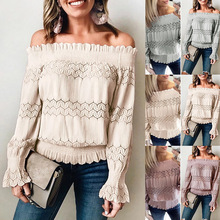 цена на Lace Long Sleeve Hollow Out Off Shoulder Club Party Sexy Blouse Casual Blouse for Women 2019 Autumn Harajuku Elegant Tops Lady