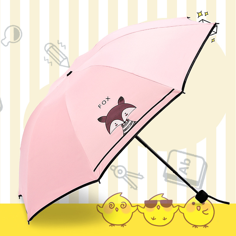 Hipster Sun-resistant Folding Umbrella Manufacturers Wholesale Vinyl Creative Small Fox Umbrella College Style Parasol Currently
