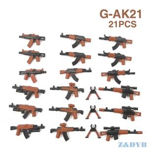 Image 2 - 21PCS AKปืนไรเฟิลอาวุธปืนทหารMiniทหารWW2ชุดBuilding Blockอิฐล็อคเด็กของเล่นเด็ก