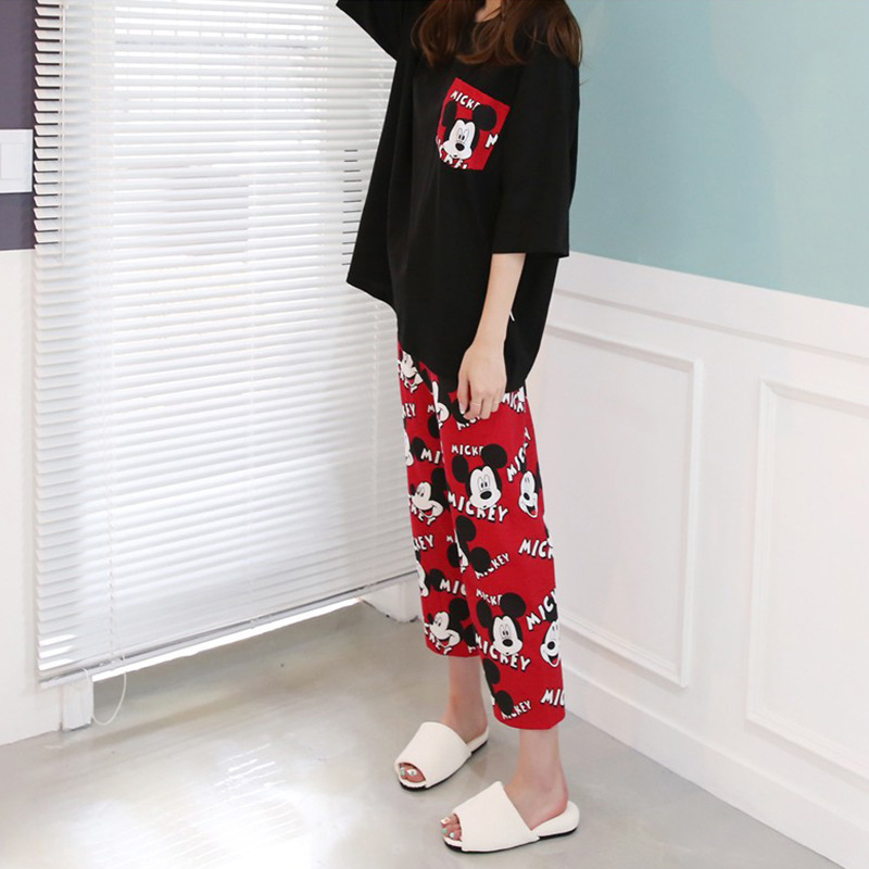 2019 Fashion Lovely Leisure Two Piece Set Mickey Printing Indoor Clothing Home Suit Sleepwear Winter Pajamas Woman Pijama Mujer 34