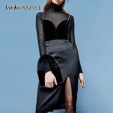 TWOTWINSTYLE na co dzień Slim w stylu Vintage podział damskie sukienki kwadratowy kołnierzyk Spaghetti pasek sukienki z wysokim stanem kobiet 2020 mody fala