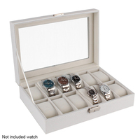 Dustproof 12 Slots Organizer Watch Box Wooden Storage Large Home Gifts Durable White Display Luxury Case