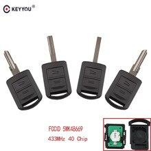 Keyyou chave remota automotiva, 2 botões, para opel agila meriva astra corsa c combo van tigra vectra 433.9mhz com chip id40