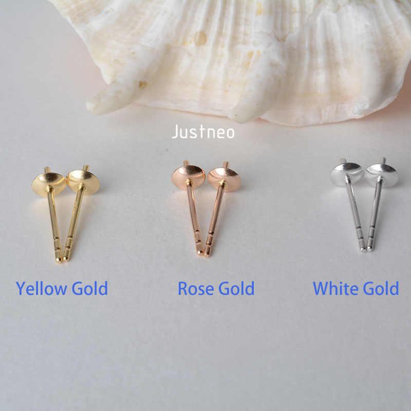 18 k gold AU750 earstuds z koralik czapki, oryginalne 18 karatowego złota stanowisk dla w połowie wiercone z pereł kolczyki sztyfty z koralami DIY