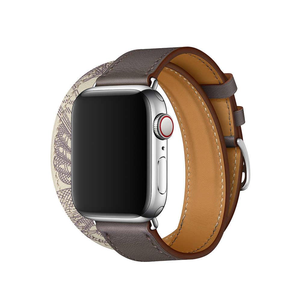 Кожаный ремешок для Apple Watch Series 6 5 4 40 мм 44 мм SE Band Браслет для iWatch 38 мм 42 мм Series 3 2