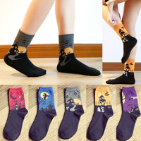 Women Halloween Middle tube Sock Gifts Cotton Pattern Hosiery Plain Athletic Casual Stretch Women's Calf