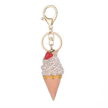 Llavero con forma de helado, novedad, bolso de señora, accesorios colgantes, llavero, llavero de aleación, decoración perfecta