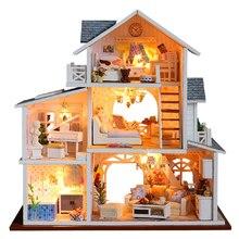 цена CUTEBEE DIY Dollhouse Wooden doll Houses Miniature Doll House Furniture Kit Casa Toys for Children Christmas Gift K18 онлайн в 2017 году