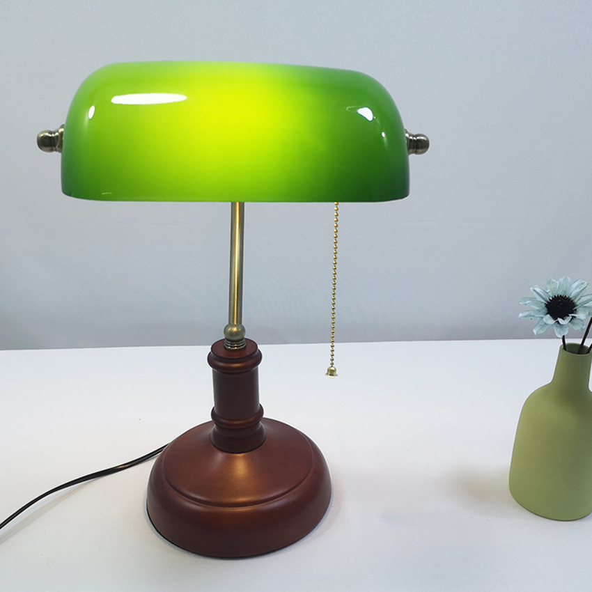 Vintage Wooden Green Gl Table Lamp