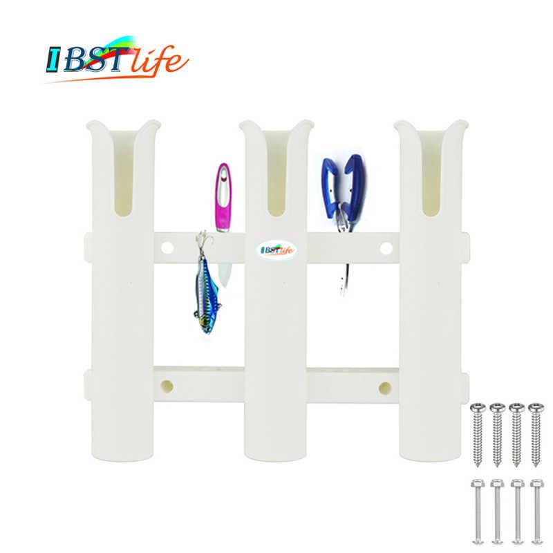 Caña de pescar de plástico blanco con eslabones de 3 tubos, soporte para caña de pescar, soporte para bote, caja de pesca marina, kayak, barco, yate