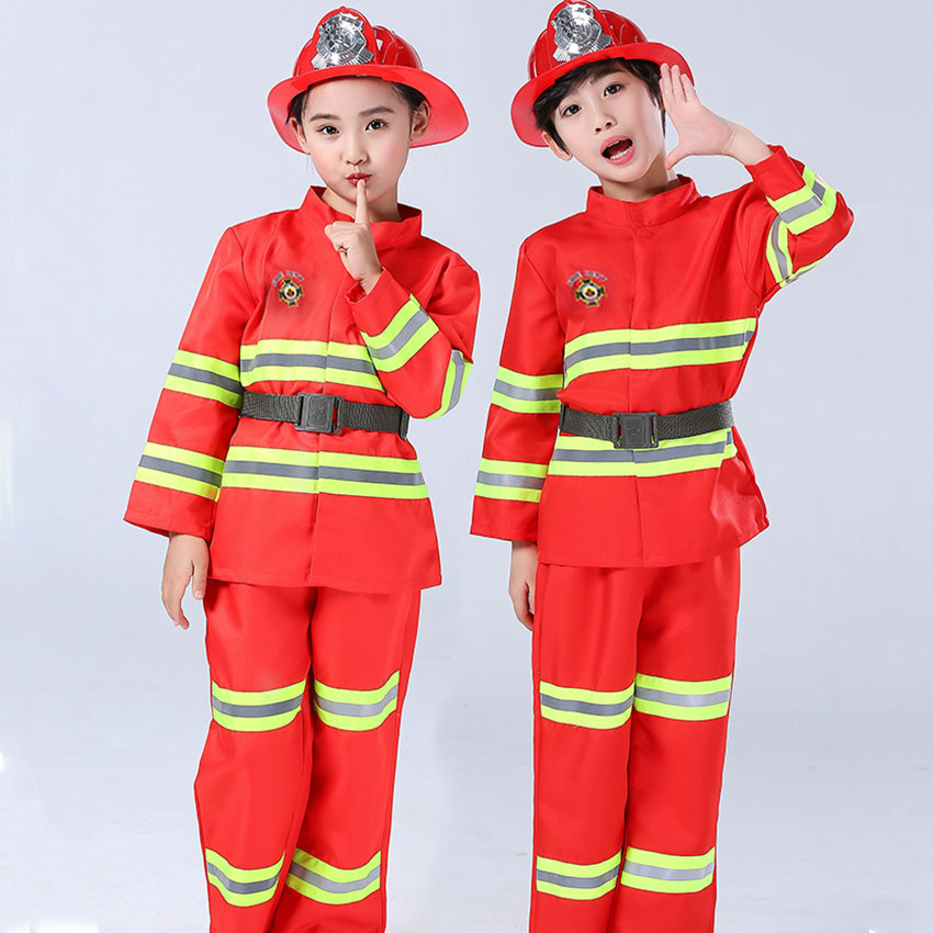 Firefighter Work Wear Uniform Fireman Sam Cosplay Carnival Halloween Costumes For Kid Party Girl Boy Disguise Anime Clothing Set
