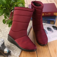 Hot Winter 2019 NEW Womens Boots Mid-Calf Snow Wedges Fringe Waterproof Slip-On Plus Size 35-41 Velvet To Keep Warm