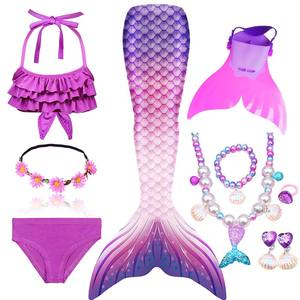 Image 2 - Girls Swimming Mermaid Tail Cosplay Mermaid Costume Swimsuit With or No Monofin Fin Flipper Kids Swimmable Children Swimwear Set