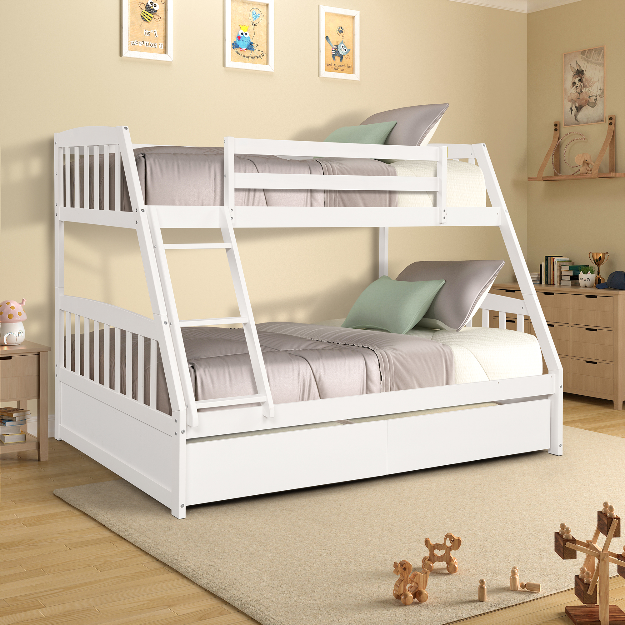 12 Off Solid Wood Twin Over Full Bunk Bed With Two Storage Drawers White Gqkipiwa3