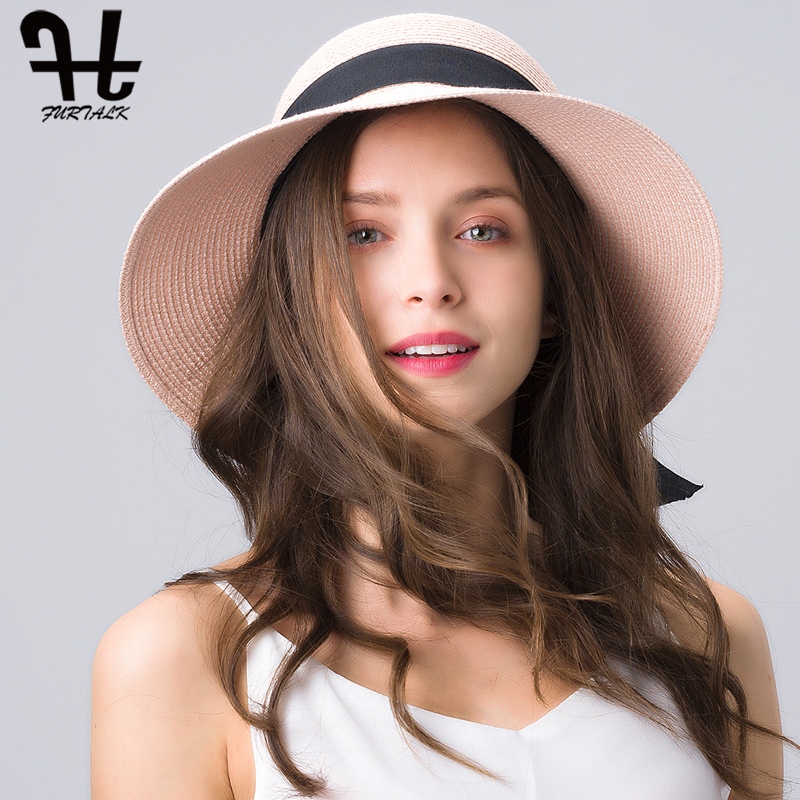 FURTALK Sun Hat For Women Summer Panama Hat Female UV Protection Floppy Beach Straw Hat Ladies Wide Brim Travel Sun Bucket Cap