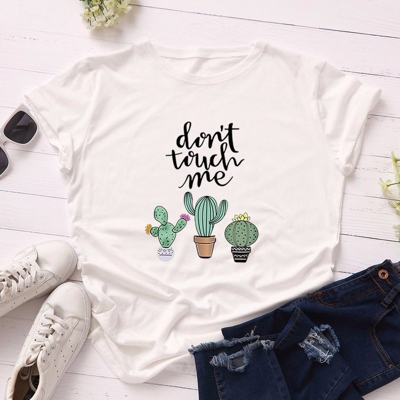 JCGO Summer Cotton Women T Shirt 5XL Plus Size Cactus Don't Touch Me Short Sleeve Woman Tees Top Casual O-Neck Female tShirts 2