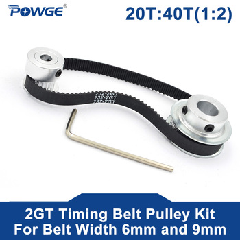 POWGE 2M/2GT 20Teeth 40Teeth Synchronous Timing Pulley Belt Bore5-12mm 1:2 20T:40T Speed Ratio for 232-2GT Belt width 6/9mm Kit for sale 2015 freeshipping 1 2 ratio 2m 20t 40t 90 degree precision gear drive bevel gear 2m 20 teeth with40 teeth 2pcs set