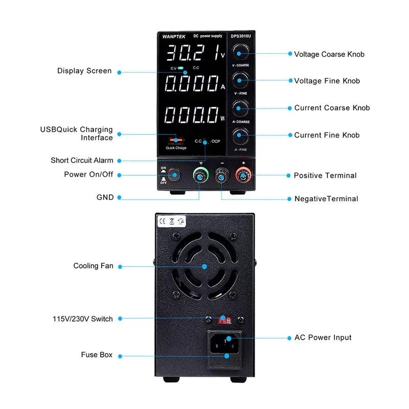 New USB Adjustable DC Laboratory 30V 10A Lab Power Supply Adjustable 60V 5A Voltage Regulator Stabilizer Switching Power Supply-4