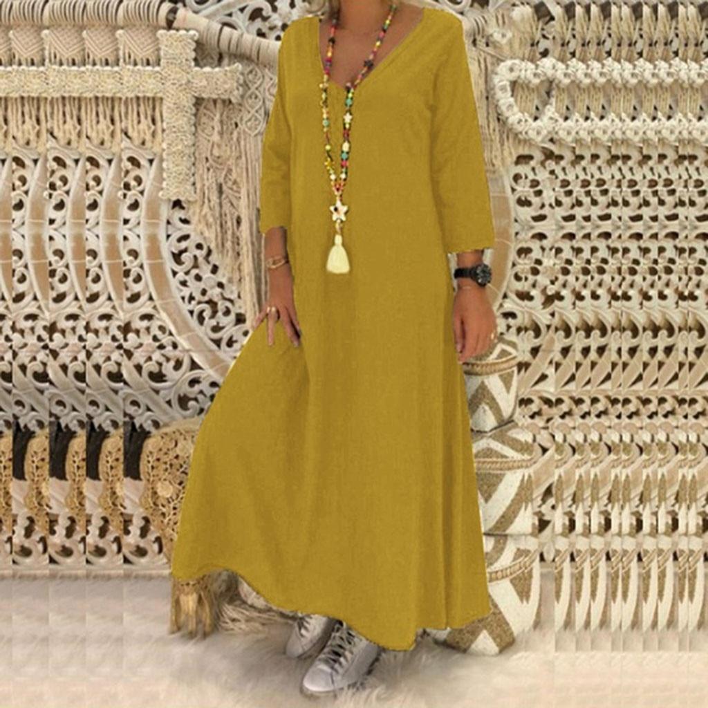 €3.74 33% СКИДКА|Женское платье большого размера 5XL Feitong, Свободное длинное платье с v образным вырезом и длинным рукавом для отдыха|Платья| |  - AliExpress