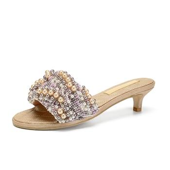 Women Genuine Leather String Bead Woman Flat / 5cm Heel Slippers Ladies Pearl Bead Summer Outdoor Beach Slides Casual Shoes