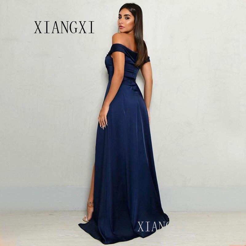 Navy Blue Evening Dresses Long Satin A-Line Off The Shoulder High Split Formal Evening Dress Party Gowns Vestidos
