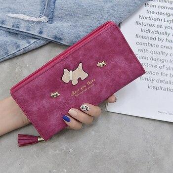 Women Long Wallets Cartoon Dog Purses  For Girl Ladies Money Coin Pocket Card Holder Female Phone Clutch Bags Tassel