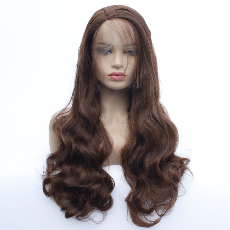 33# Natural Looking Chocolate Brown Color Body Wave Lace Front Wigs With Baby Hair for Women Synthetic Heat Resistant Fiber Hair
