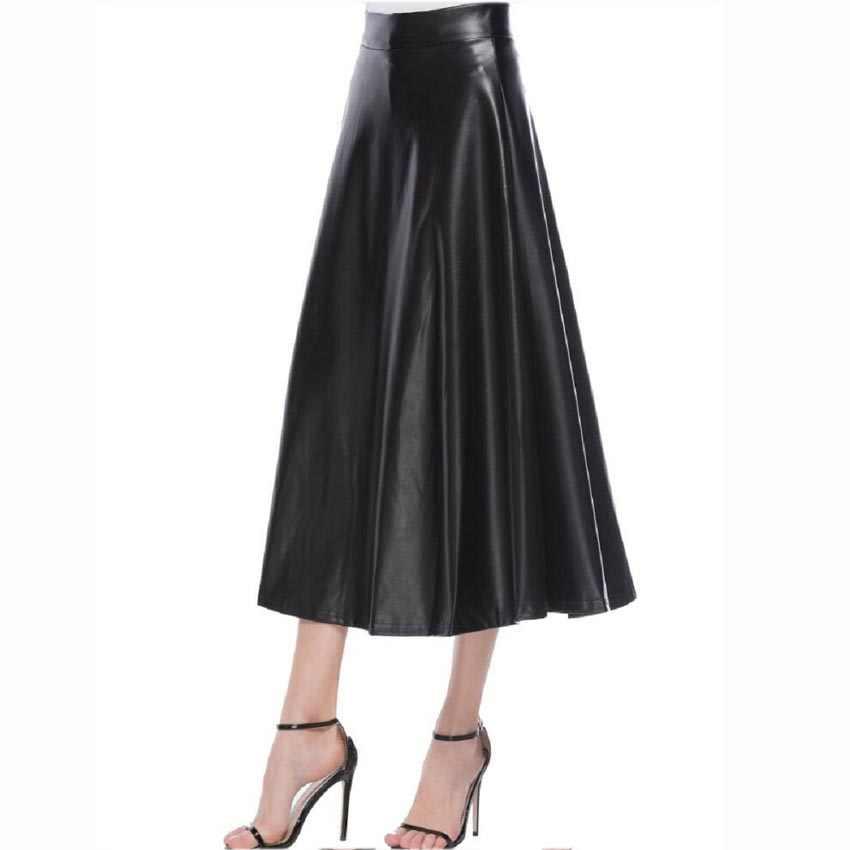 Осень Зима Высокая талия плиссированные юбки женские элегантные трапециевидные черные юбки из искусственной кожи повседневные панк готические длинные макси юбки Saia