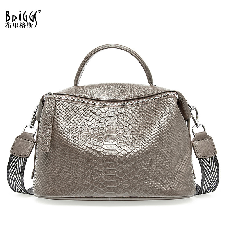 BRIGGS Genuine Cow Leather Women Handbag Fashion Satchel Female Shoulder Bag Top-handle Bags For Women Large Capacity Tote Bag