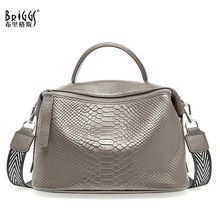 BRIGGS Genuine Cow Leather Women Handbag Fashion Satchel Female Shoulder Bag Top handle Bags For Women Large Capacity Tote Bag