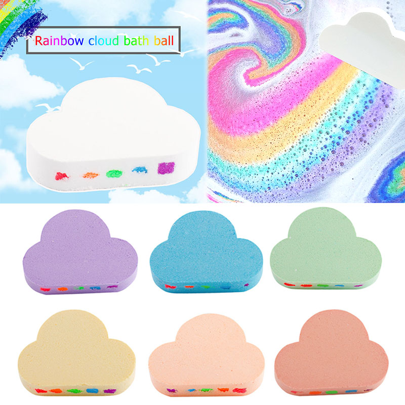 Natural Skin Care Cloud Shape Rainbow Bath Bubble Exfoliating Moisturizing Bath Ball Bombs Skin Care Romantic Bath Salt
